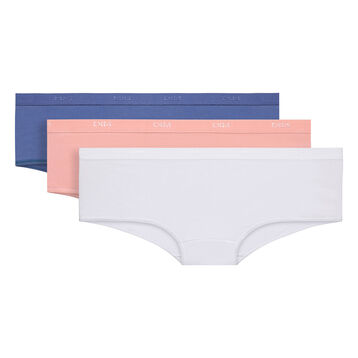 Lot de 3 boxers bleu, rose et blanc Les Pockets EcoDIM-DIM