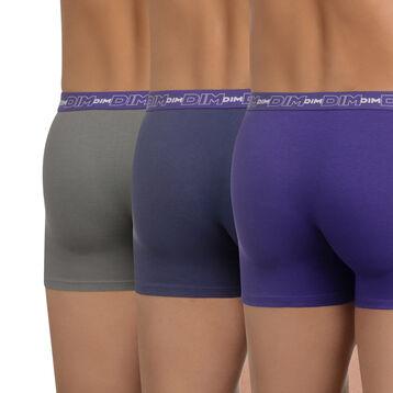Lot de 3 boxers bleu, gris et violet lilas Coton Stretch-DIM