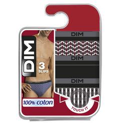 Lot de 3 slips à imprimé losange rétro 100% Coton-DIM