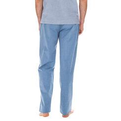 Pantalon de pyjama bleu tempête 100% coton Homme-DIM