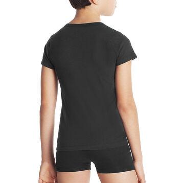 T-shirt noir col en V manches courtes 100% coton DIM Boy-DIM