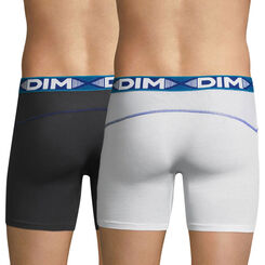 Lot de 2 boxers longs blanc et gris plomb 3D Flex Air -DIM