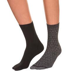 Lot de 2 paires de mi-chaussettes noires et lurex Femme-DIM