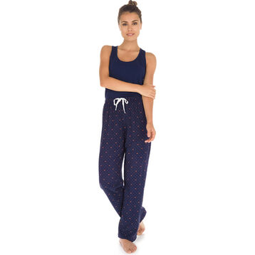 Pantalon de pyjama bleu imprimé couronnes Femme-DIM