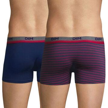 Lot de 2 boxers bleu et rayures fuchsia Original Spirit-DIM