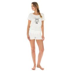 T-shirt de pyjama manches courtes nacre 100% coton Femme-DIM