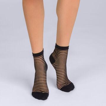 Socquettes à rayures noires Femme Style-DIM