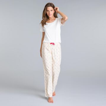 Pantalon de pyjama nacre imprimé tacheté Femme-DIM