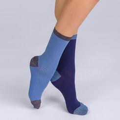Lot de 2 chaussettes côtellées brillantes bleues Femme-DIM