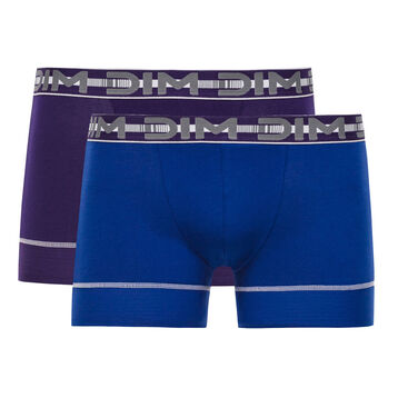 Lot de 2 boxers bleu et violet 3D Flex Stay & Fit -DIM