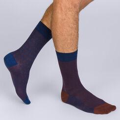 Lot de 2 chaussettes bleues et marrons motif céramique Homme-DIM