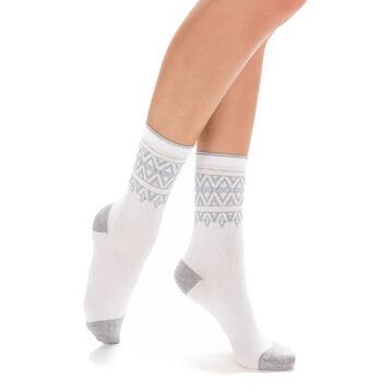 Chaussettes blanches laine douce à motif norvégien Femme-DIM