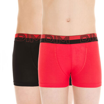 Lot de 2 boxers rouge et noir Soft Touch DIM Boy-DIM