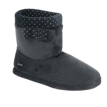 Chaussons bottes en velours noirs nœud à pois blancs Femme-DIM