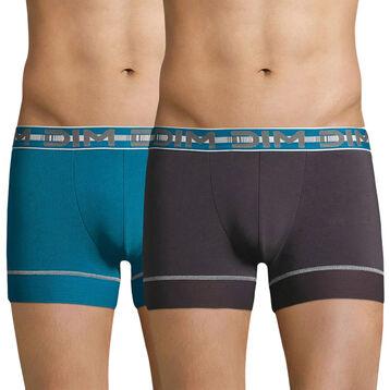 Lot de 2 boxers 3D Flex Stay & Fit bleu et gris plomb-DIM
