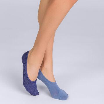Lot de 2 protège-pieds bleus motif écailles brillantes Femme-DIM