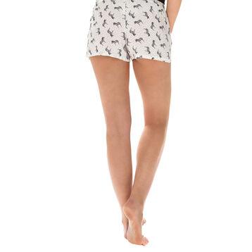 Short de pyjama nacre imprimé zèbres Femme-DIM