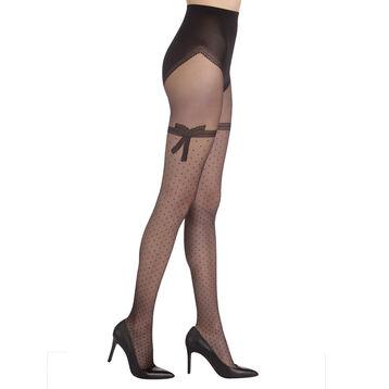 Collant noir Sexy nœud dentelle transparent 20D -DIM