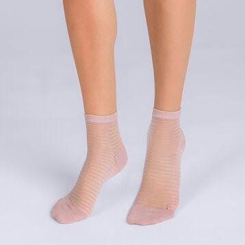 Socquettes à rayures nudes Femme Style-DIM