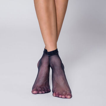 Socquettes résille bleu marine Style-DIM