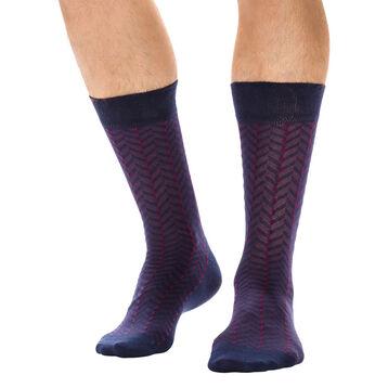 Chaussettes bleu nuit à chevrons en coton Homme-DIM