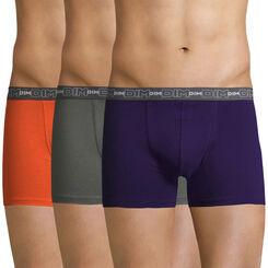 Lot de 3 boxers orange, gris et violet Coton Stretch-DIM