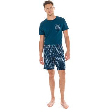 Short de pyjama bleu diesel imprimé en coton Homme-DIM