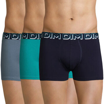 Lot de 3 boxers bleus en coton stretch DIM Powerful-DIM