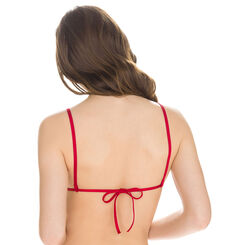 Haut de maillot de bain triangle rouge avec volants Femme-DIM