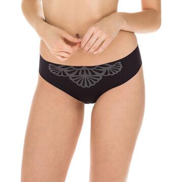 Slip noir en microfibre Nude Support-DIM