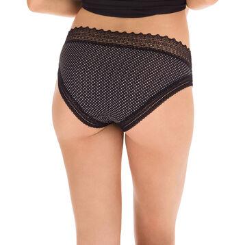 Lot de 2 slips noir et pois Sexy Fashion en coton dentelle-DIM