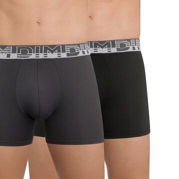 Lot de 2 boxers gris et noir en microfibre Soft Touch-DIM