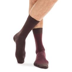 Lot de 2 paires de chaussettes marron rayures bordeaux Homme-DIM