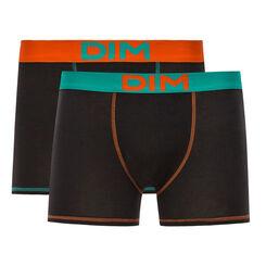 Lot de 2 boxers noirs ceinture orange et bleue Mix & Colors-DIM