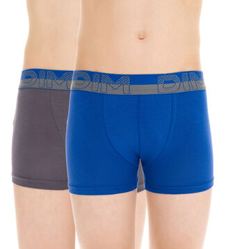 Lot de 2 boxers gris et bleu Soft Touch DIM Boy-DIM