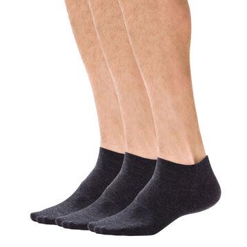Lot de 3 paires de socquettes invisibles anthracites Homme-DIM