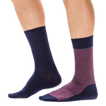 Lot de 2 paires de chaussettes bleues à rayures fines Homme-DIM