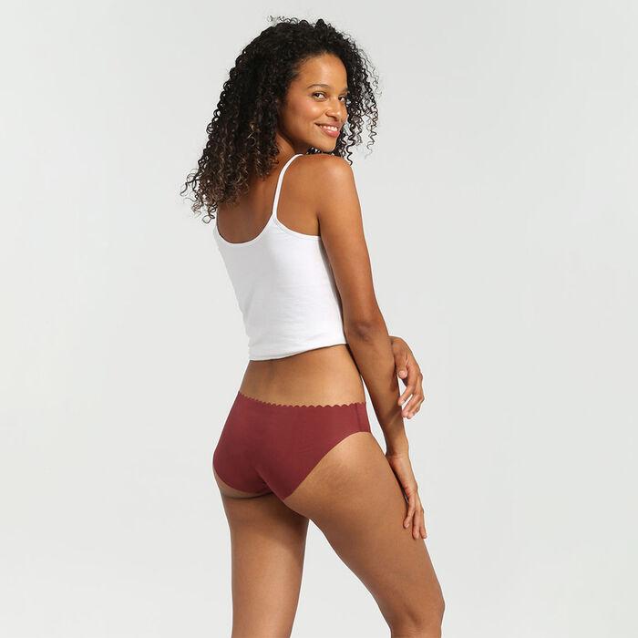 Lot de 2 culottes en coton stretch chocolat/skin rose Body Touch Coton, , DIM