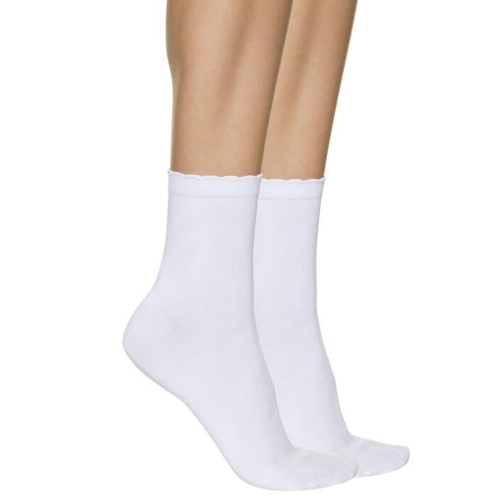 Lot de 2 socquettes blanches seconde peau Femme, , DIM