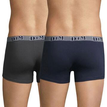 Lot de 2 boxers en coton stretch bleu et gris EcoDIM Mode, , DIM