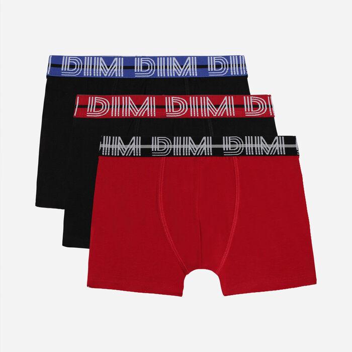 Lot de 3 boxers garçon coton stretch ceinture contrastée Rubis Ecodim, , DIM