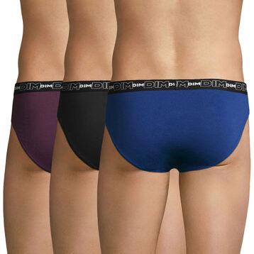 Lot de 3 slips violet, bleu et noir Coton Stretch, , DIM