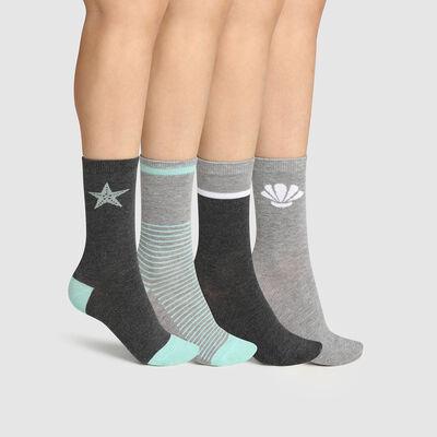 Lot de 4 paires de chaussettes femme coton fantaisie Gris Menthe Dim, , DIM