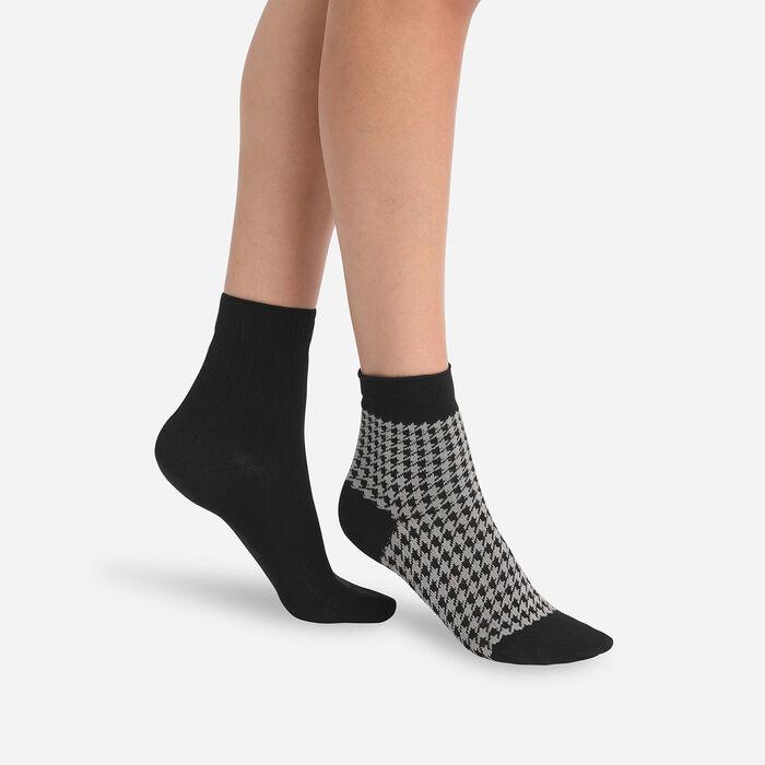 Lot de 2 paires de chaussettes femme en modal pied de poule Noir Dim, , DIM