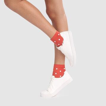 Socquettes fantaisie imprimé pois rétro rouge pomme gala Style Dim 40D, , DIM