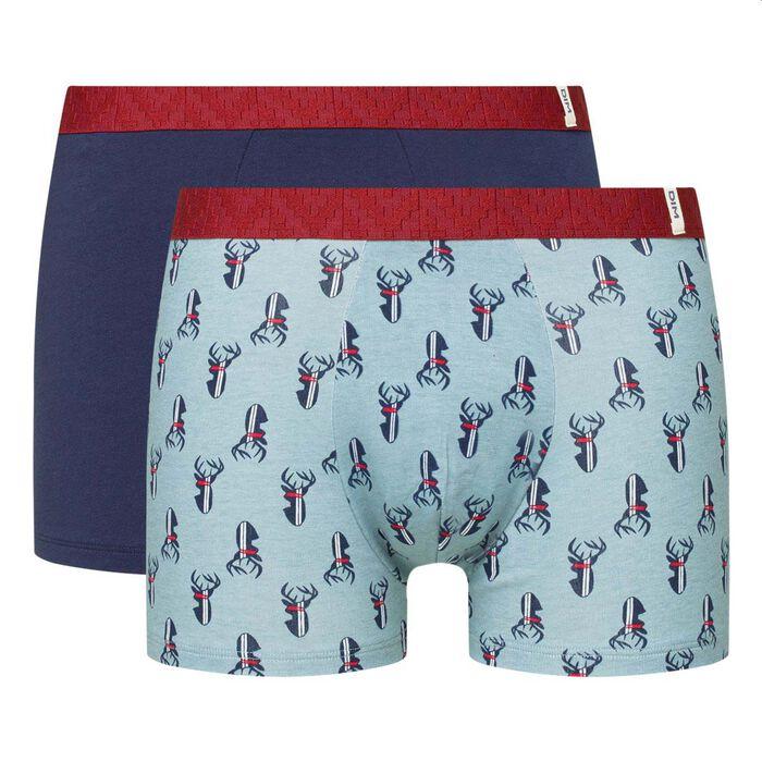 Lot de 2 boxers coton stretch imprimé cerf bleu pack cadeau Dim, , DIM