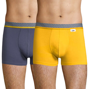 Lot de 2 boxers jaune moutarde et bleu - Dim Mix and Dots, , DIM