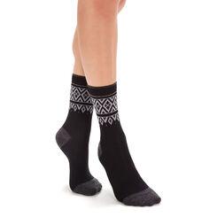 Chaussettes noires laine douce à motif norvégien Femme-DIM