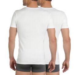 Lot de 2 t-shirts blancs col V 100% coton EcoDIM-DIM