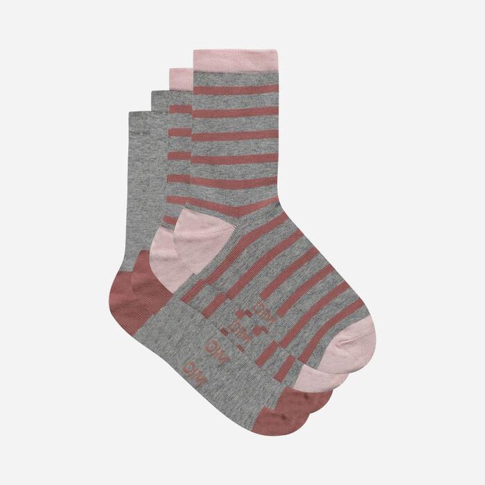 Lot de 2 paires de chaussettes femme rayures Bois de Rose Coton Style, , DIM